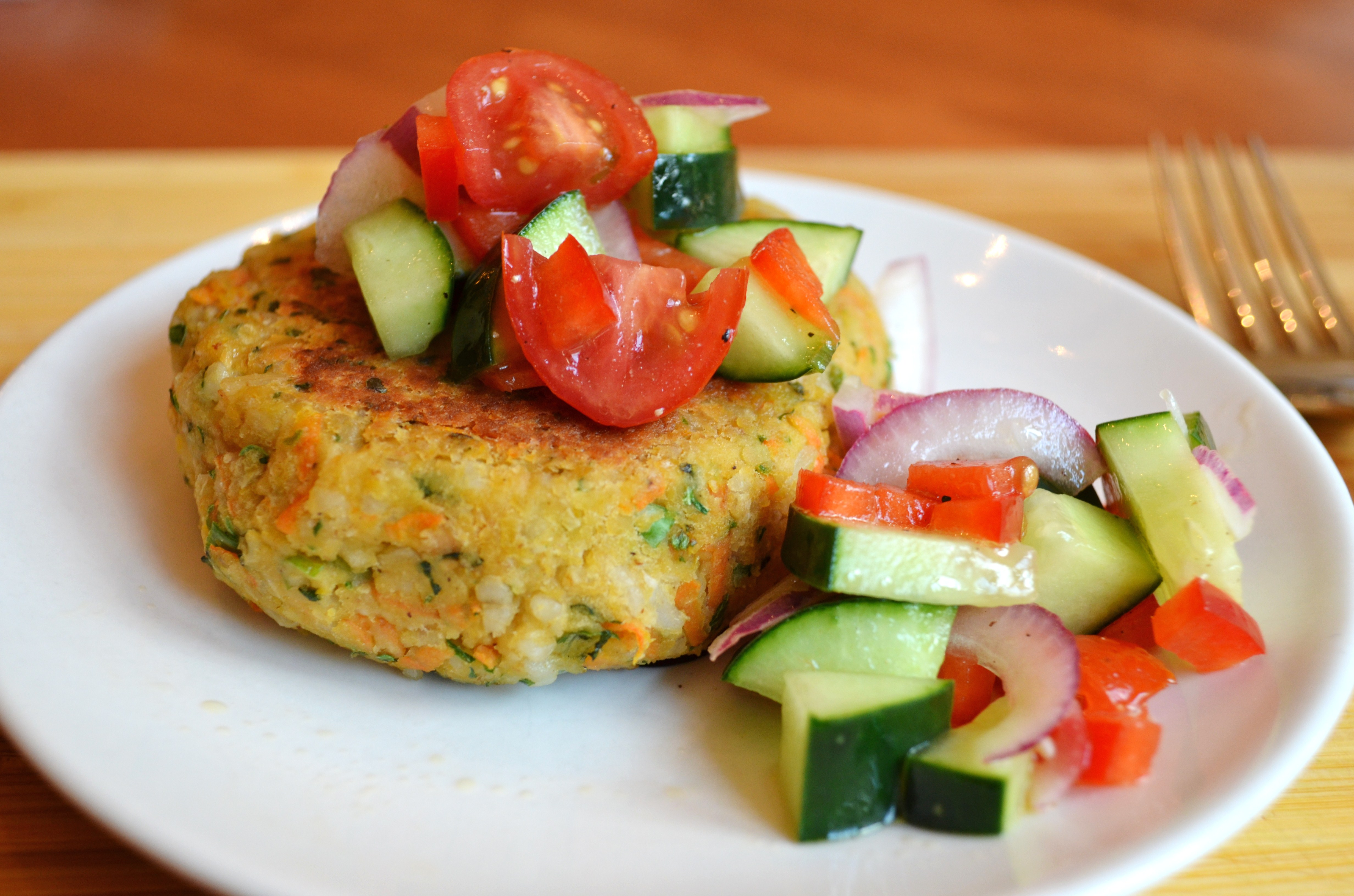 Chickpea & Brown Rice Veggie Burgers with Tomato Salad - Domestic ...