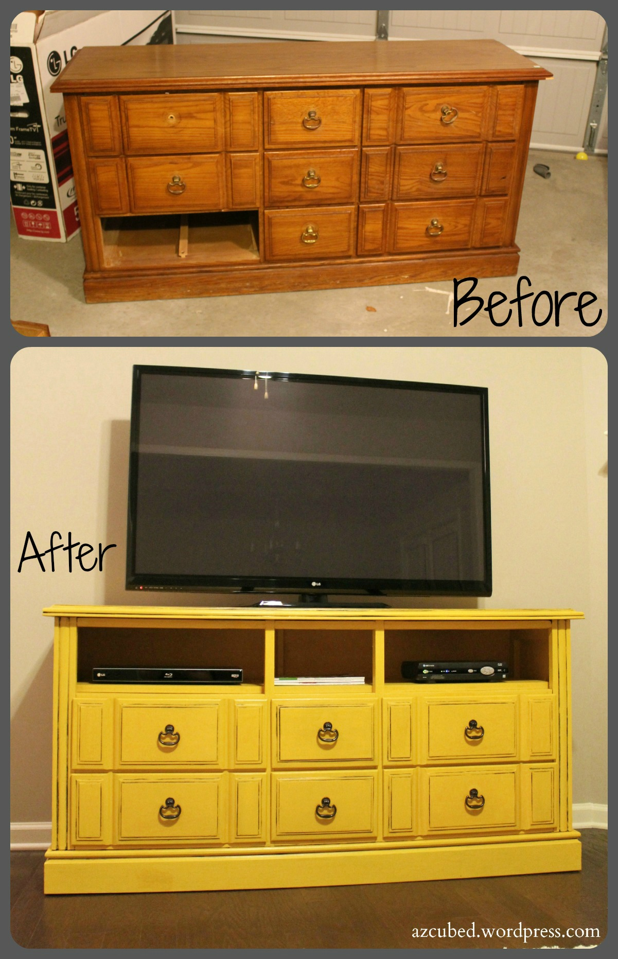 Completely new DIY Dresser turned TV Console with Tutorial • Domestic Superhero FJ93
