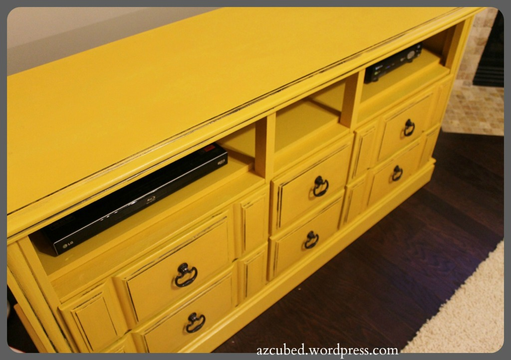 DIY TV Console - old dresser refinished and turned into a TV Console - love the yellow with black accents! Great step by step tutorial