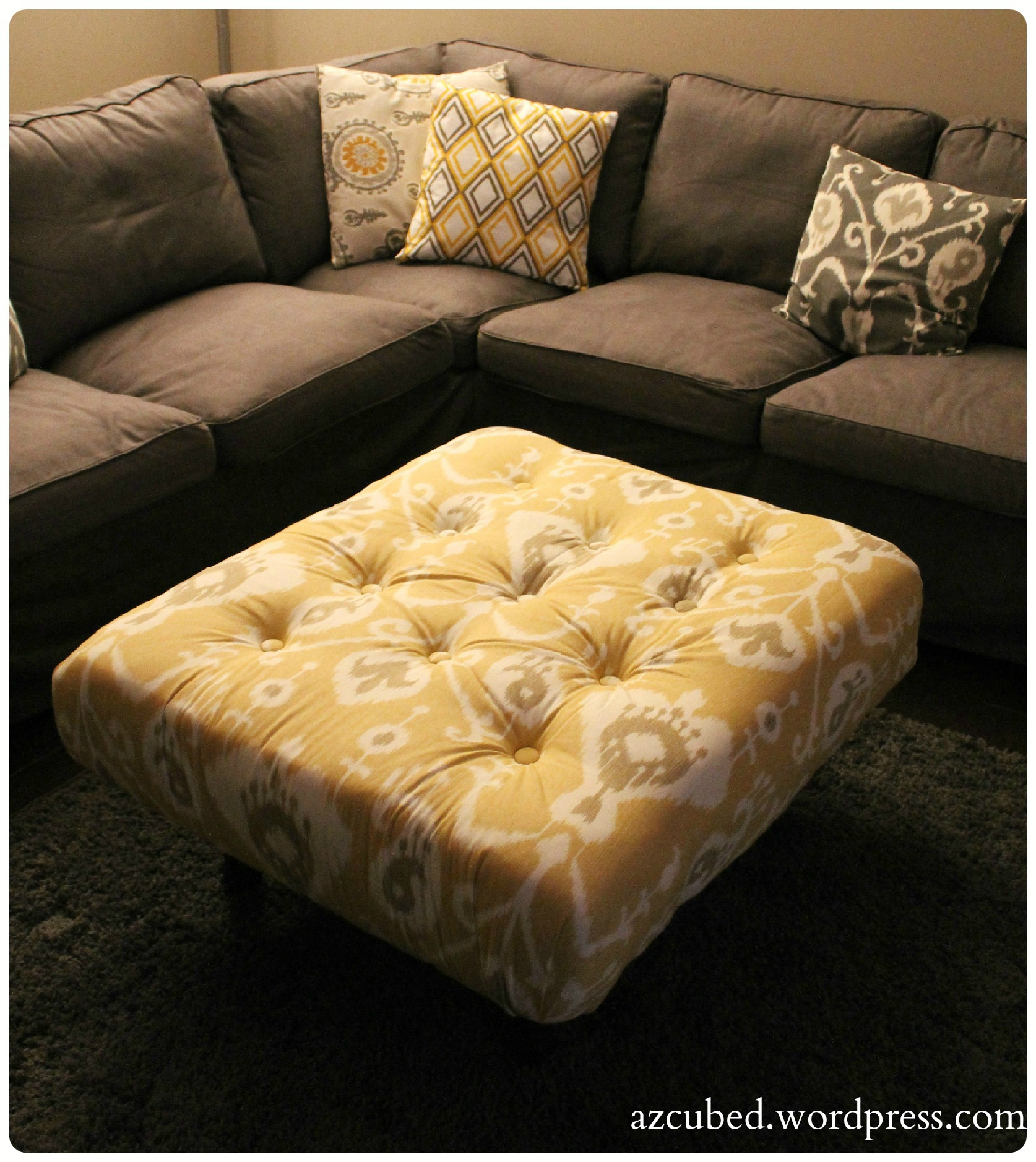 Magnificent Diy Tufted Ikat Ottoman From Upcycled Pallet With Tutorial Machost Co Dining Chair Design Ideas Machostcouk